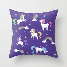 Unicorns and Rainbows - Purple Throw Pillow