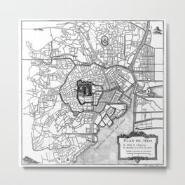Vintage Map of Tokyo Japan (1752) BW Metal Print