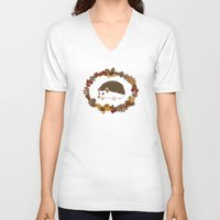 kawaii V-neck T-shirts featuring Kawaii hedgehog by Pendientera