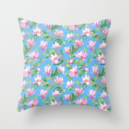 Blooming magnolia with sky blue background Throw Pillow
