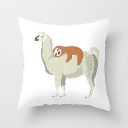 Cute & Funny Sloth Sleeping on Llama Throw Pillow