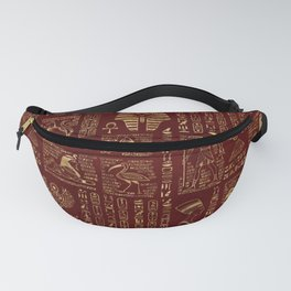 Egyptian hieroglyphs and symbols gold on red leather Fanny Pack
