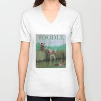 poodle V-neck T-shirts featuring Poodle by Jeff Crosby