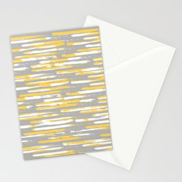 Colorful Stripes, Abstract Art, Yellow and Gray Stationery Cards
