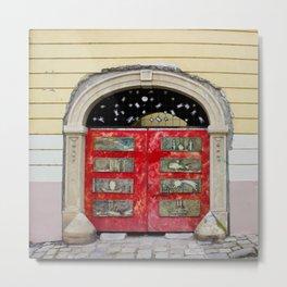Magical Red Door in Bratislava, Slovakia Metal Print