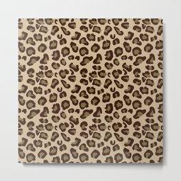 Leopard-Beige+Brown Metal Print