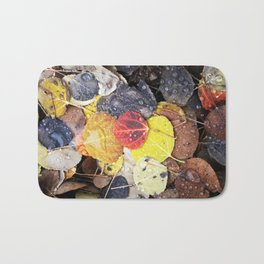 Multicolored Aspen Leaves in Woods Bath Mat