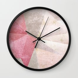Frozen Geometry - Blush & Champagne #abstractart Wall Clock