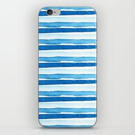 Blue Watercolour Stripes iPhone Skin
