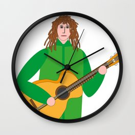Guitarist in green Wall Clock