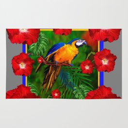 GREY RED HIBISCUS GOLD MACAW JUNGLE ART Rug
