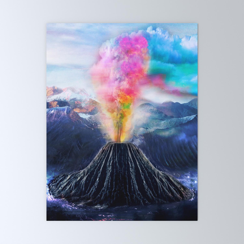 Rainbow Volcano Mini Art Print By Nadja1 Society6