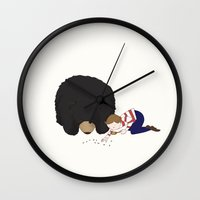 hermione Wall Clocks featuring Henry and Hermione by Little Moon Dance