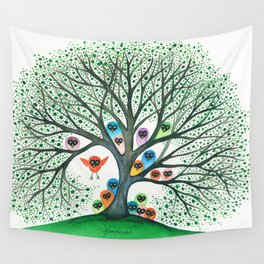 Teton Owls in Tree Wall Tapestry