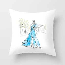 One Day In Paris Throw Pillow