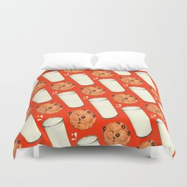 Milk & Cookies Pattern - Red Duvet Cover