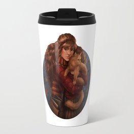 Girl and her cat Travel Mug