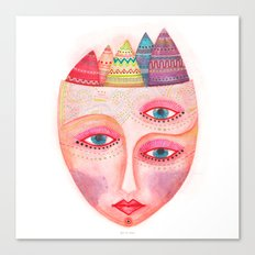girl with the most beautiful eyes mask portrait Canvas Print