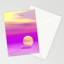 Adrift, Abstract Gold Violet Ocean Stationery Cards