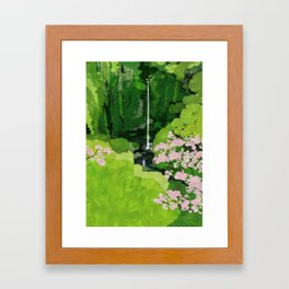 The Urami fall and cherry blossoms Framed Art Print