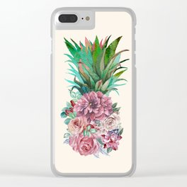Floral Pineapple Clear iPhone Case