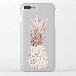 Pineapple Rose Gold Clear iPhone Case