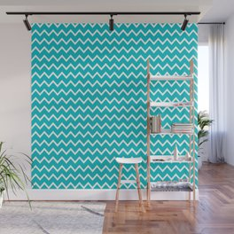 Teal Turquoise Blue Chevron Zigzag Pattern Wall Mural