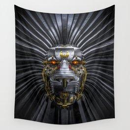 Hear Me Roar / 3D render of serious metallic robot lion Wall Tapestry