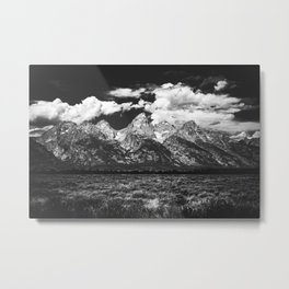 Mountain Summer Escape - Black and White Tetons Metal Print