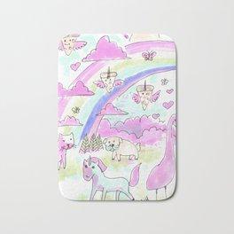unicorn party rainbow Bath Mat