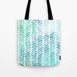 Handpainted Chevron pattern - light green and aqua - stripes Tote Bag