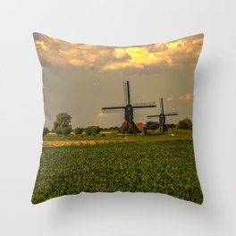 Windmills at the Waal, the Netherlands  Throw Pillow