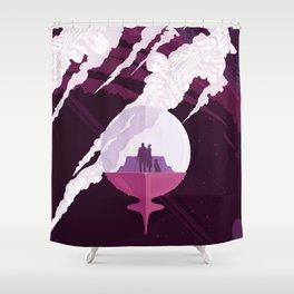 Enceladus Retro Space Poster : Eggplant Purple Pink Shower Curtain