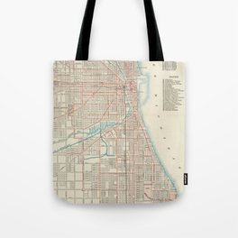 Vintage Chicago Railroad Map (1893) Tote Bag
