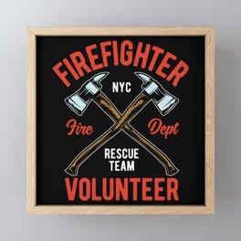 Fire Fighter - Firefighter Axe Volunteer Framed Mini Art Print
