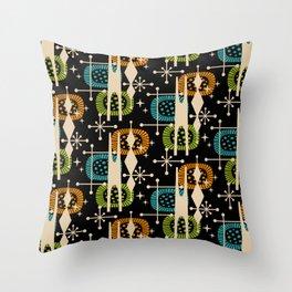Retro Atomic Mid Century Pattern Black Orange Green and Turquoise Throw Pillow