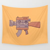 gun Wall Tapestries featuring Camera Gun by fabric8