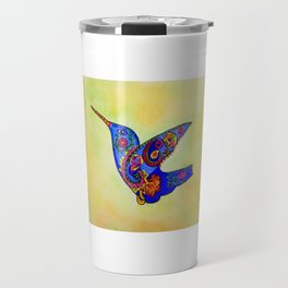 humming bird in color with green-yellow back ground Travel Mug