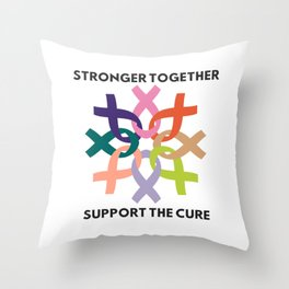 Stronger Together Support The Cure Throw Pillow
