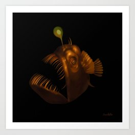 Deep Sea Anglerfish Watercolor Art Print