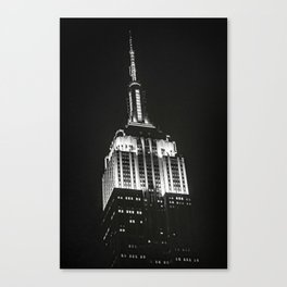 Dramatic Empire State Building in New York City at night Canvas Print