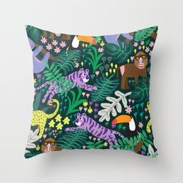 jungle madness Throw Pillow
