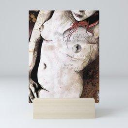 Rotten Apple (nude redhead girl, erotic graffiti portrait) Mini Art Print