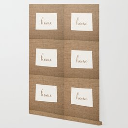 Wyoming is Home - White on Burlap Wallpaper