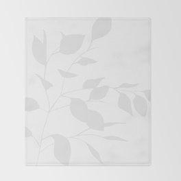Grey Leaves Throw Blanket