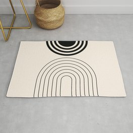 Geometric Lines in Black and Beige 2 (Rainbow and Sun) Rug