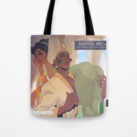 musa Tote Bags featuring Mansa Musa by DennisARTWORKS