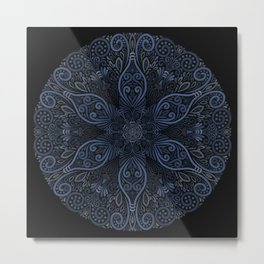Blue Ornate Pattern with 3D effect Metal Print