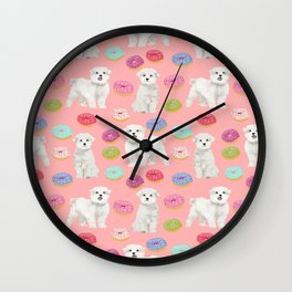 Maltese donuts dog breed funny pet lover dog person pattern print by pet friendly Wall Clock