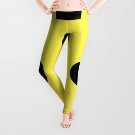 Giant Black and Lemon Yellow Polka Dot Pattern   Leggings